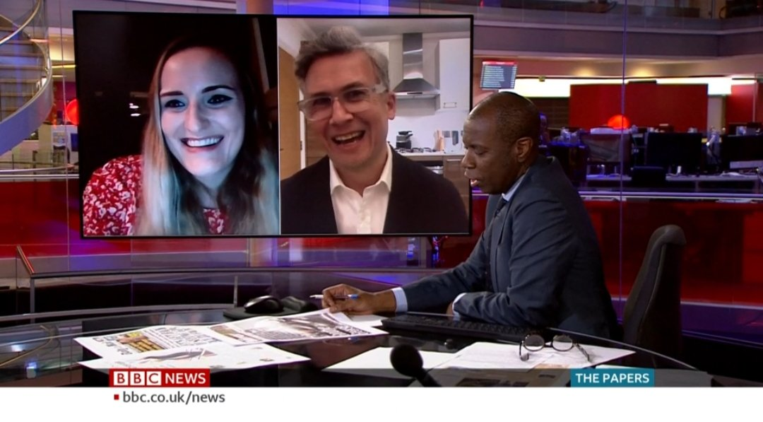 Reviewing the daily newspaper front pages on the BBC News Channel alongside presenter Clive Myrie and Iain Anderson